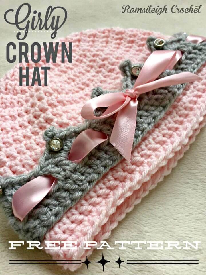 Free Crochet Girly Crown Hat Pattern