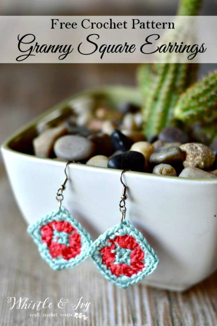 Easy Free Crochet Granny Square Earrings Pattern