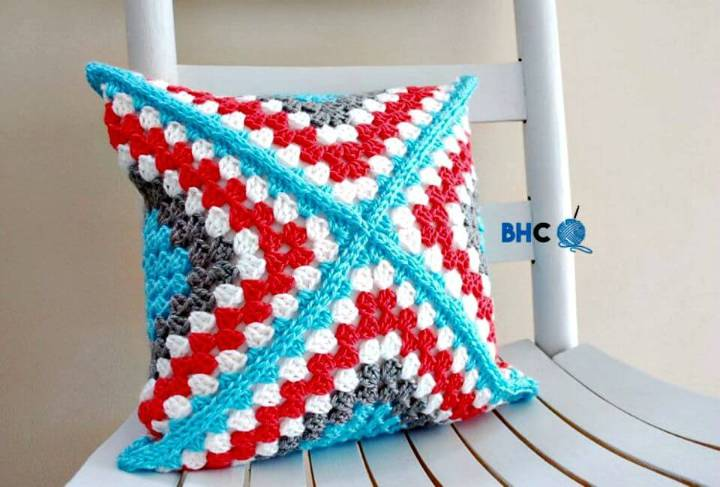 Easy Free Crochet Granny Square Pillow Pattern