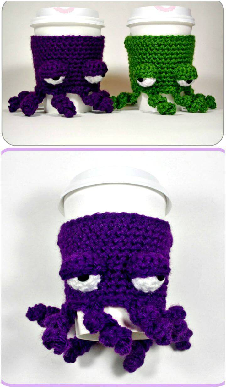 Easy Free Crochet Grumpy Octopus Coffee Cup Cozy Pattern