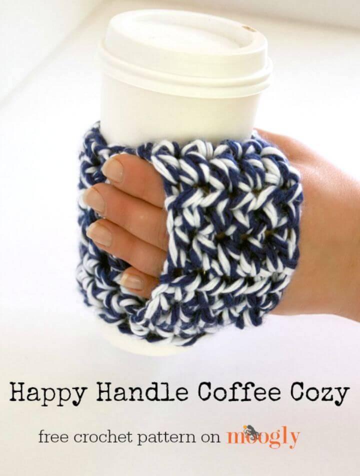 Free Crochet Happy Handle Coffee Cozy Pattern