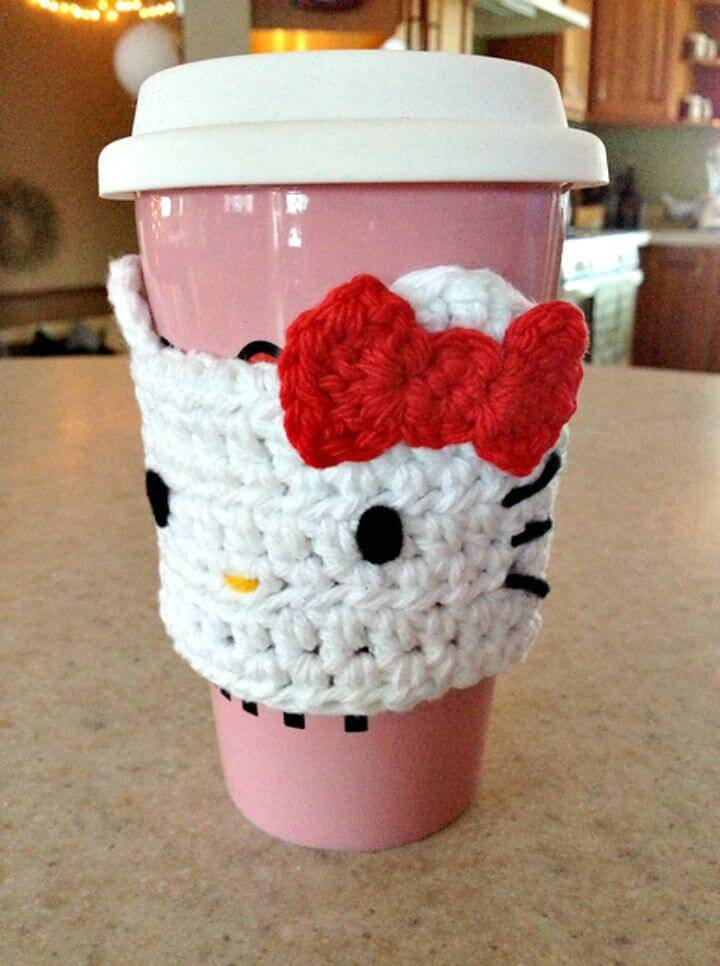 Crochet Hello Kitty Cozy For Hot Cups   Free Pattern