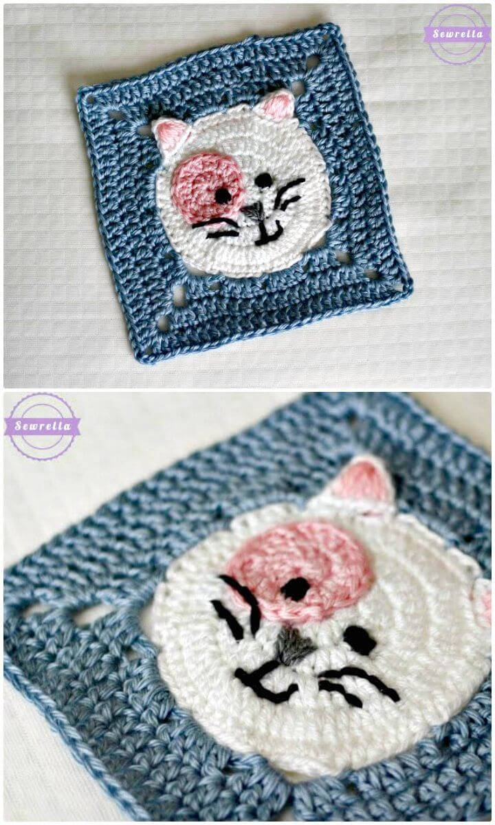Easy Free Crochet Kitty Cat Granny Square Pattern