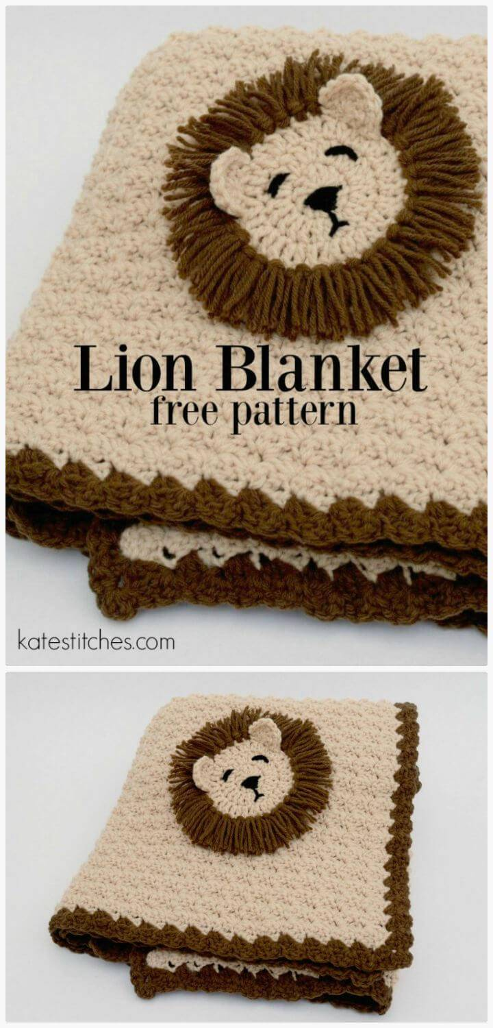 Lion Crocheted Baby Blanket - FREE Crochet Pattern