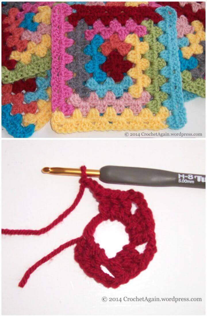 How To Free Crochet Log Cabin Granny Square Pattern