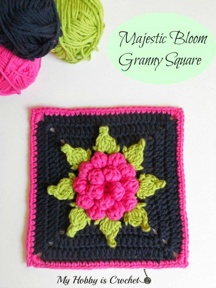 Easy Free Crochet Majestic Bloom Granny Square - Pattern With Tutorial