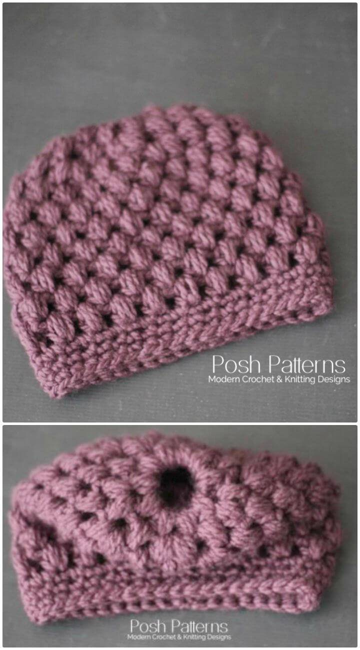Easy Free Crochet Messy Bun Hat Pattern