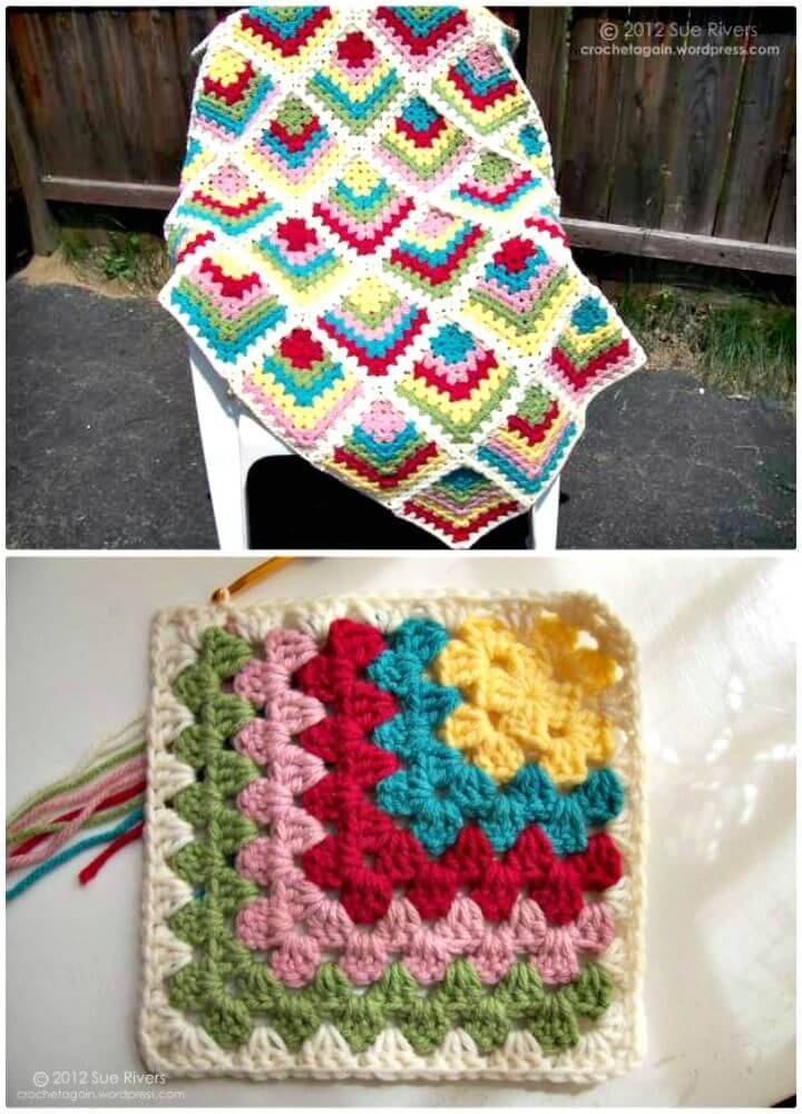 Easy Free Crochet Mitered Granny Square Pattern