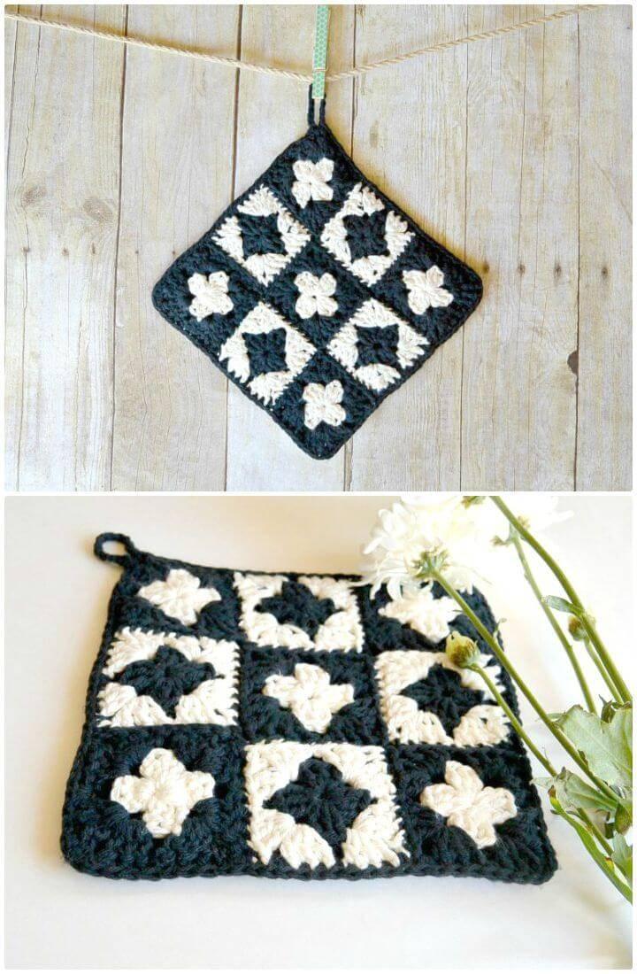 Free Crochet Modern Granny Square Crochet Potholder Pattern