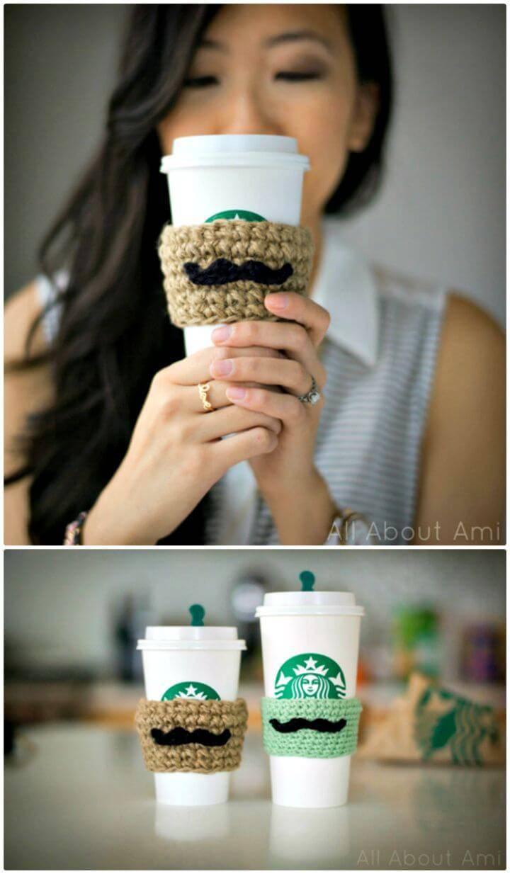 Simple Free Crochet Moustache Coffee Cozy Sleeves Pattern