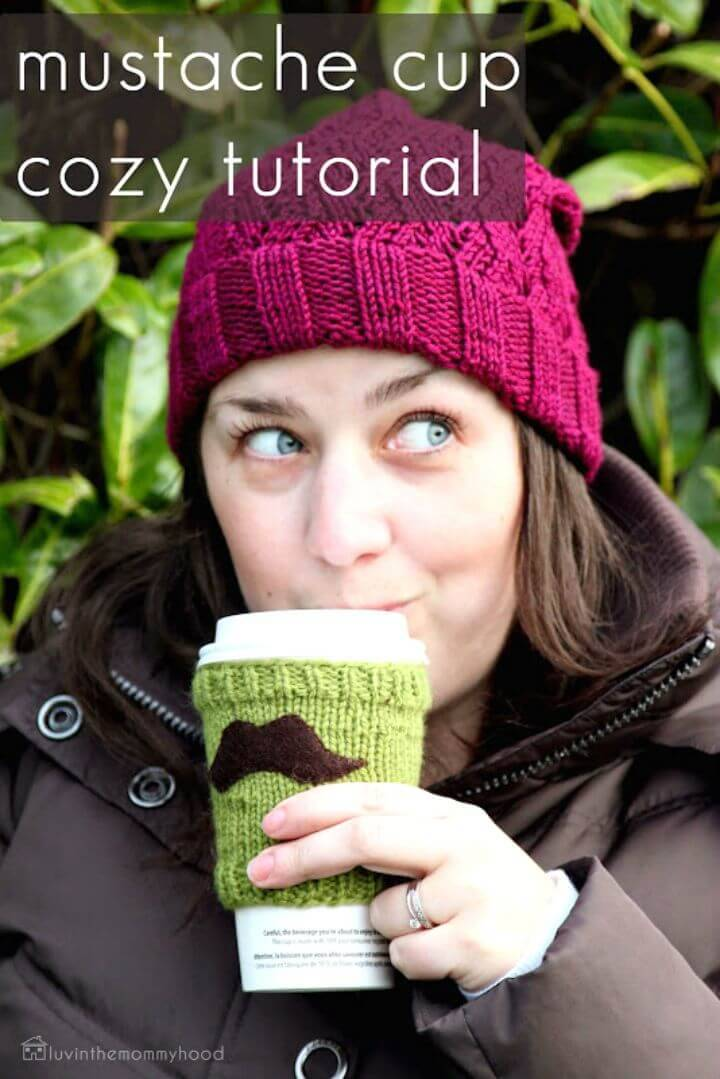 Easy Free Crochet Mustache Coffee Cup Cozy Pattern