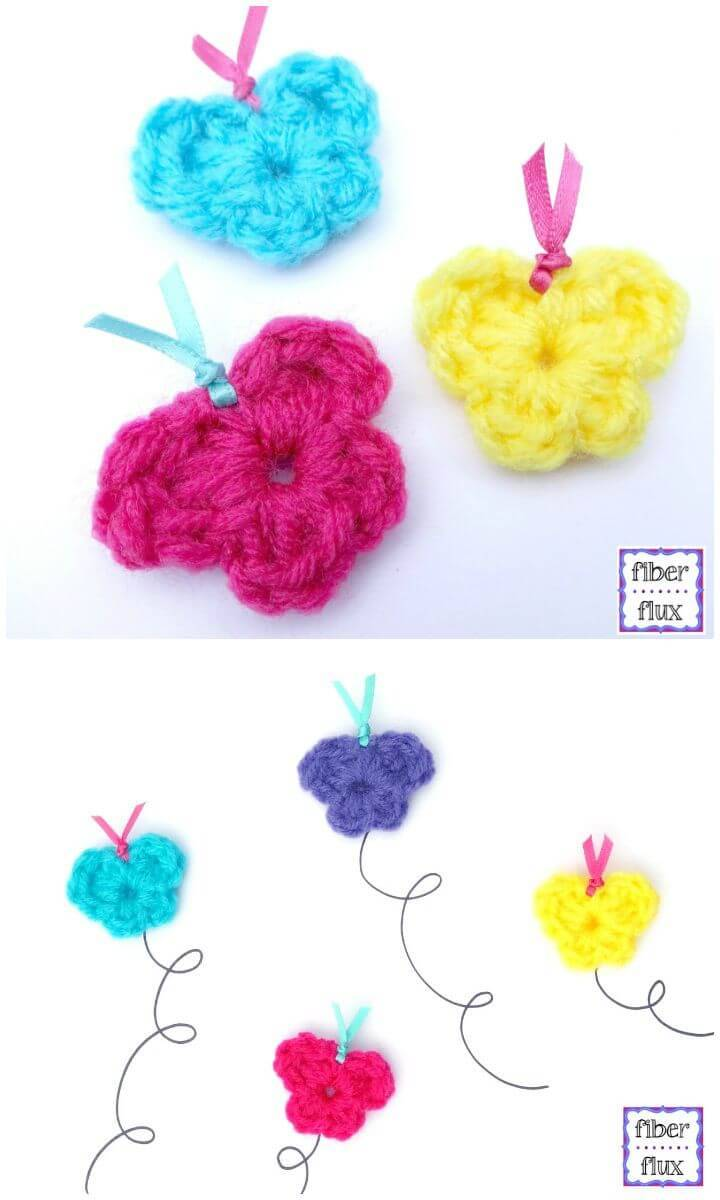 Easy Free Crochet One Round Butterflies Pattern