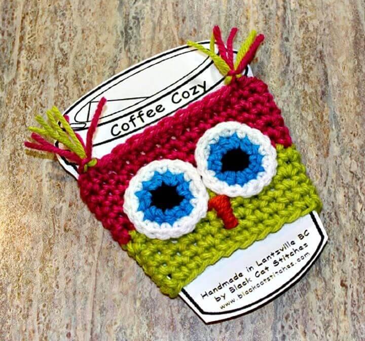 Easy Free Crochet Owl Coffee Cozy Pattern