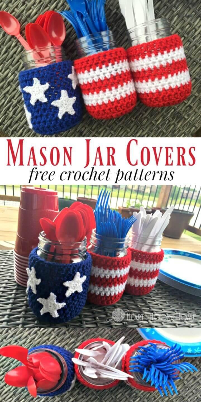 Free Crochet Patriotic Mason Jar Covers Pattern
