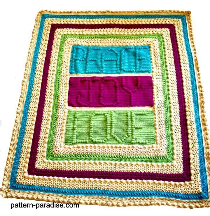 Free Crochet Peace, Joy And Love Throw Blanket Pattern