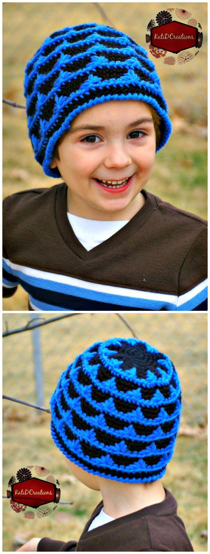 Easy Free Peaks And Valleys – Beanie Hat Pattern