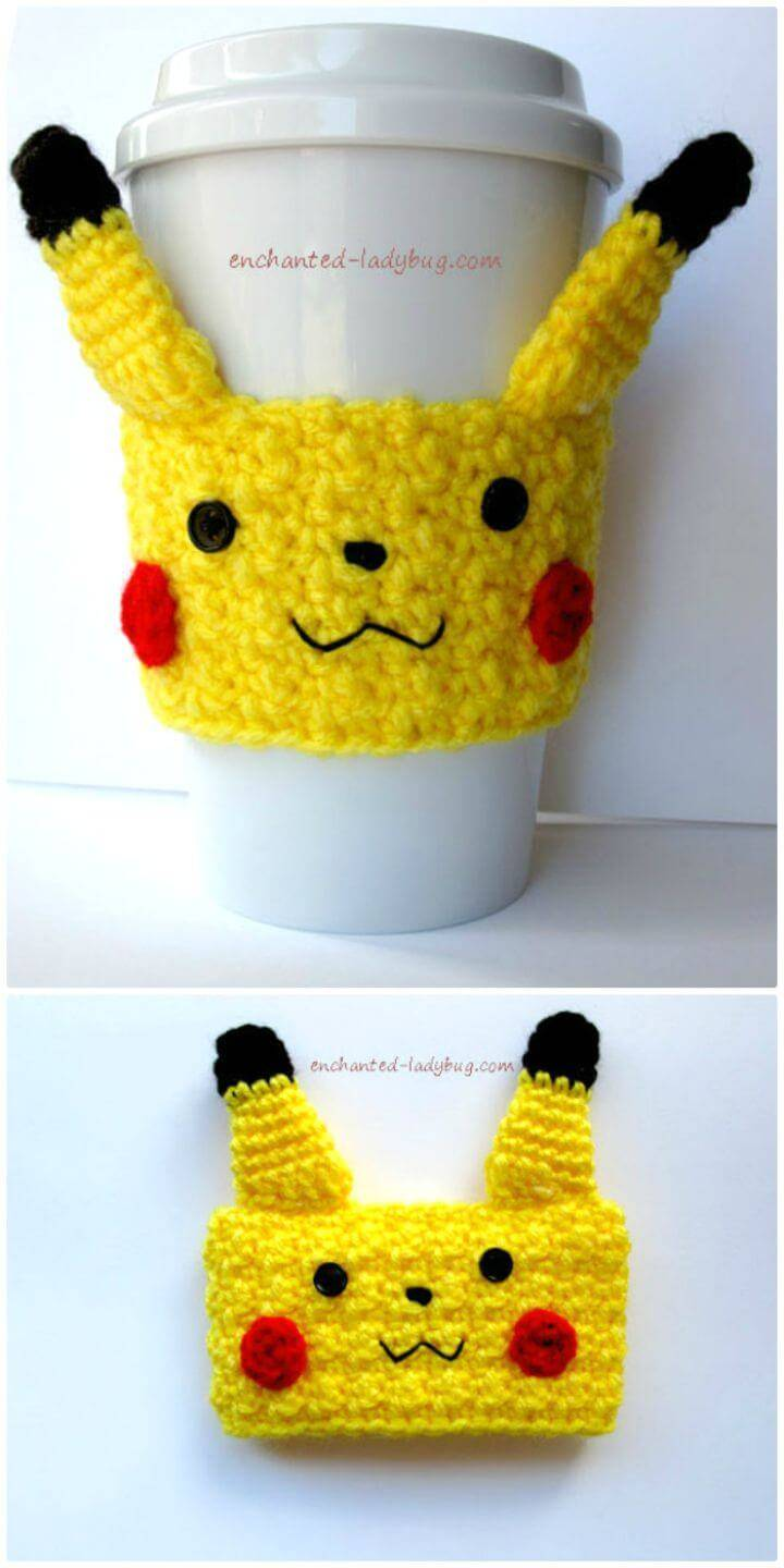 Easy Free Crochet Pikachu Coffee Cup Cozy Pattern