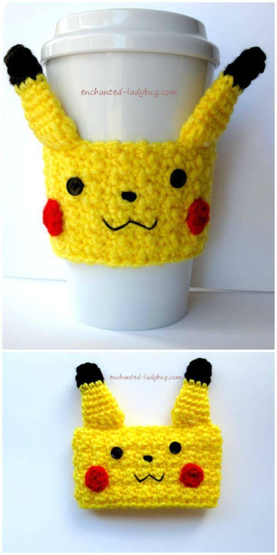 Easy Free Crochet Pikachu Coffee Cup Cozy Pattern