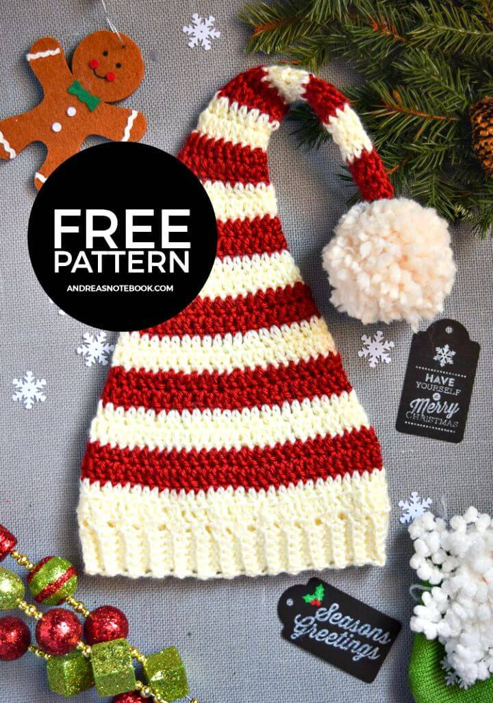 Easy Crochet Pixie Elf Striped Newborn Hat - Free Pattern