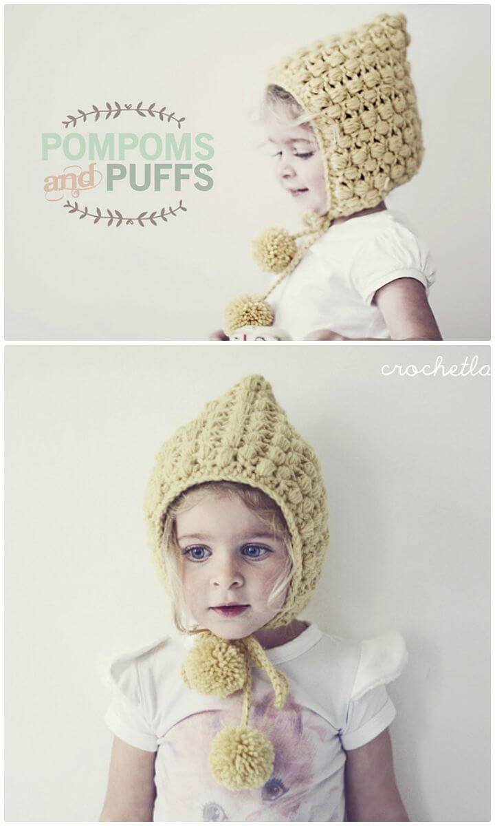 Easy Free Crochet Pom Poms And Puffs Pixie Hat Pattern