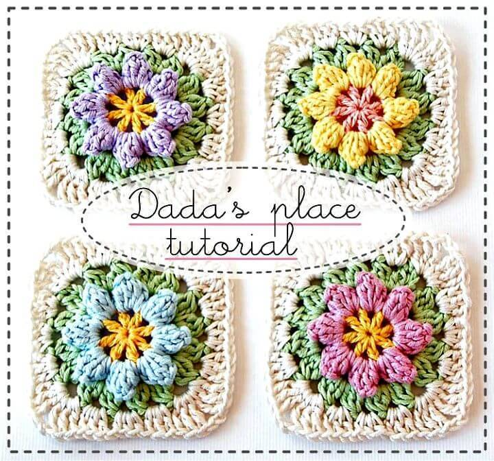 Easy Free Crochet Primavera Flowers Granny Square Tutorial