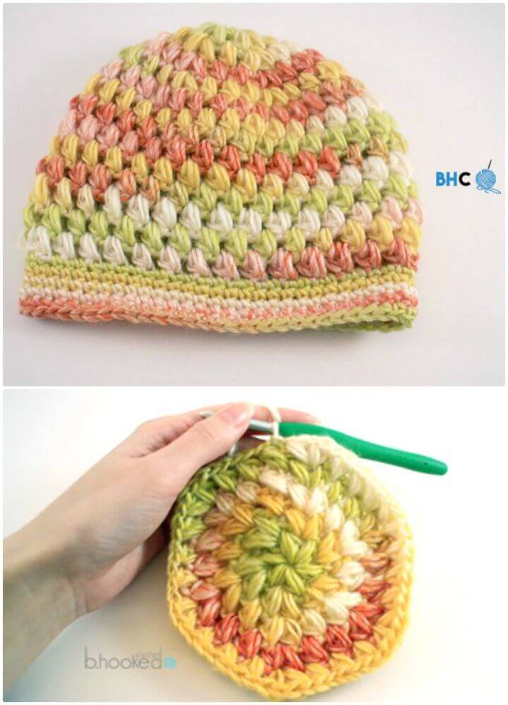 Easy Free Crochet Puff Stitch Hat Pattern