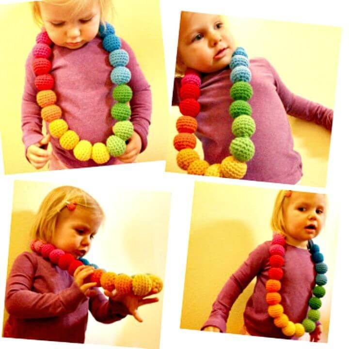 How To Free Crochet Rainbow Ball Necklace Pattern