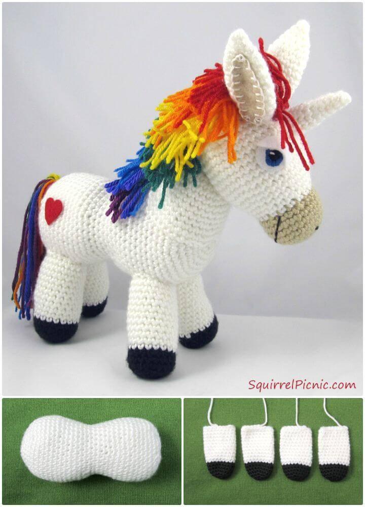 How To Free Crochet Rainbow Donkey Pattern