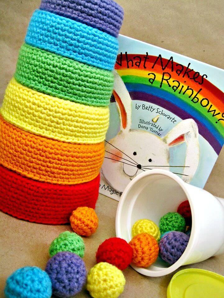 Crochet Rainbow Nesting Bowls - Free Pattern