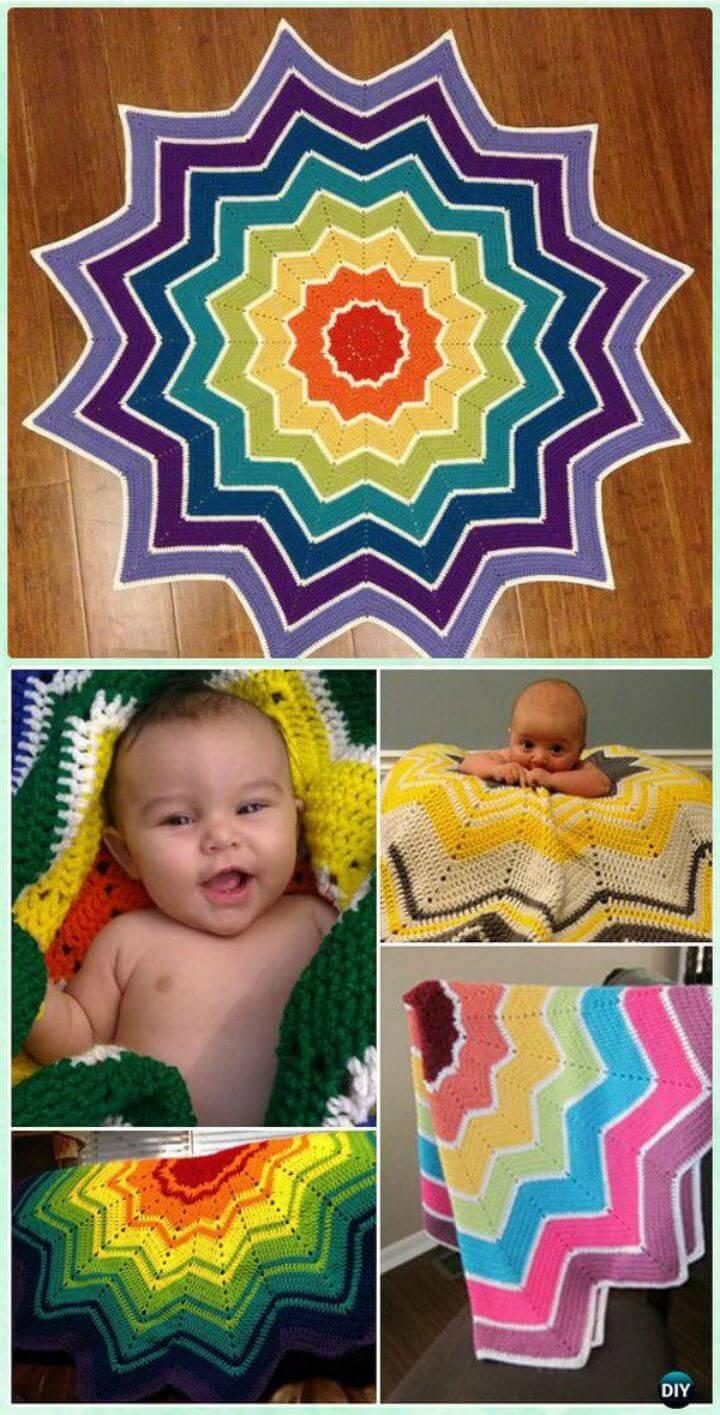 Free Crochet Rainbow Ripple Baby Blanket