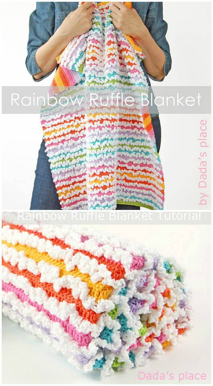 How To Crochet Rainbow Ruffle Blanket Tutorial