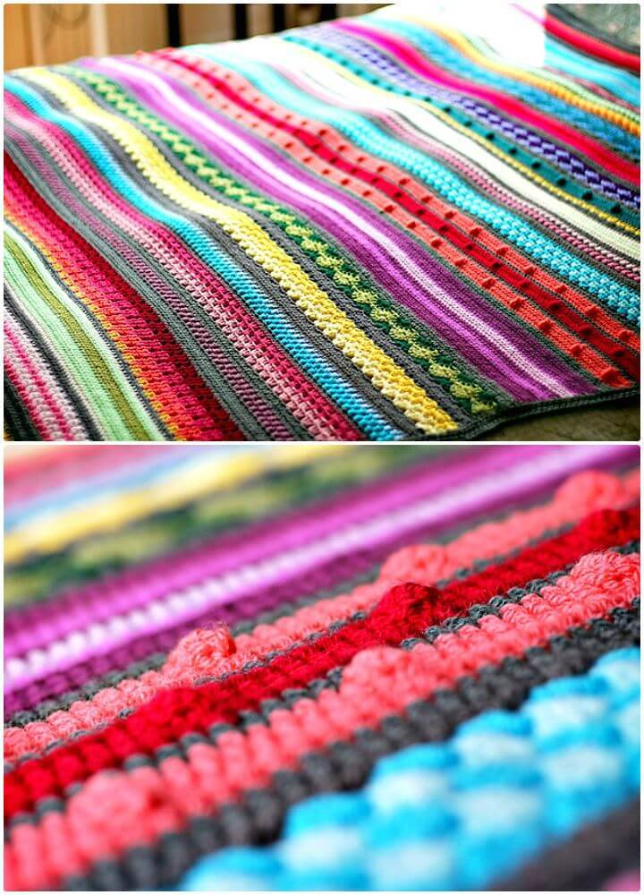 Crochet Colorful Rainbow Sampler Blanket - Free Pattern