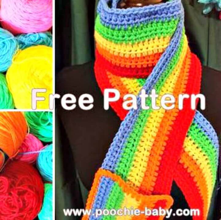 Easy Free Crochet Rainbow Scarf With Pocket Pattern