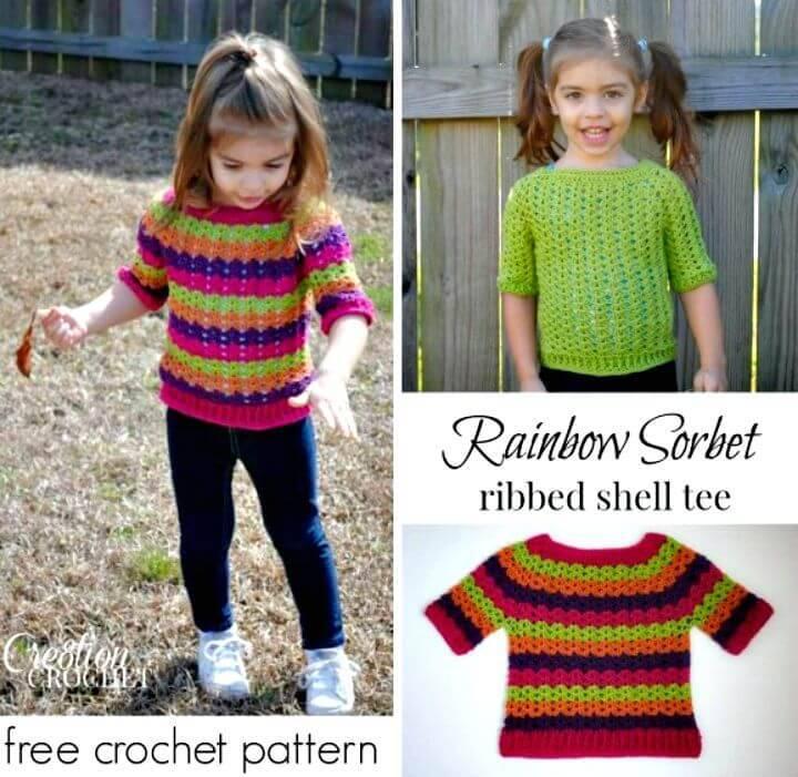 Easy Crochet Rainbow Sorbet Shell Ribbed Tee Free Pattern