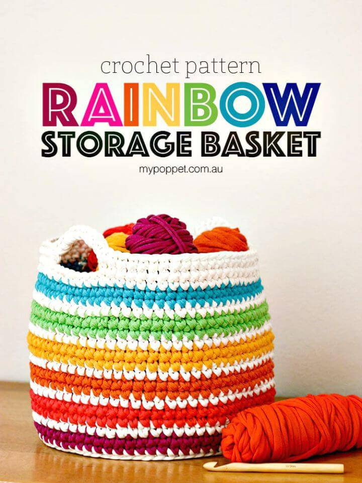 How To Free Crochet Rainbow Storage Basket Pattern