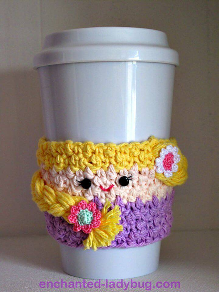 Free Crochet Rapunzel Coffee Cup Cozy Pattern