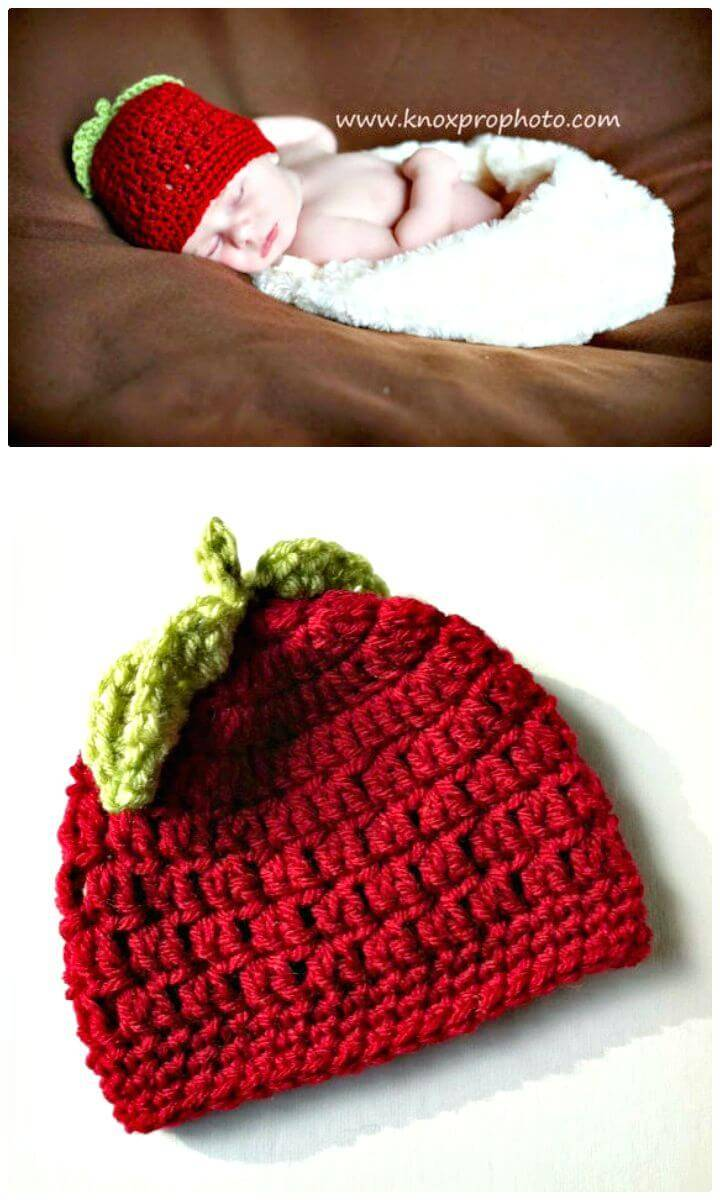Easy Crochet Red Apple Baby Hat - Free Pattern