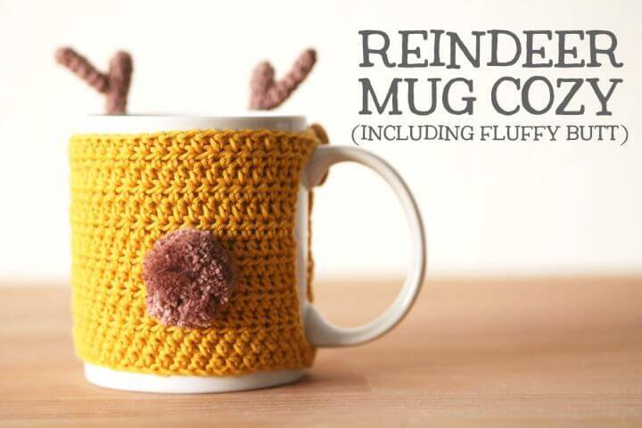 How To Crochet Reindeer Mug Cozy - Free Pattern