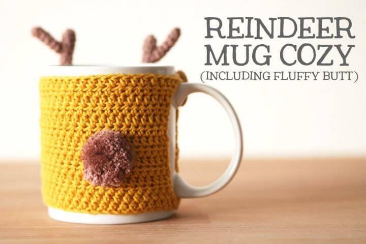 How To Crochet Reindeer Mug Cozy - Free Pattern