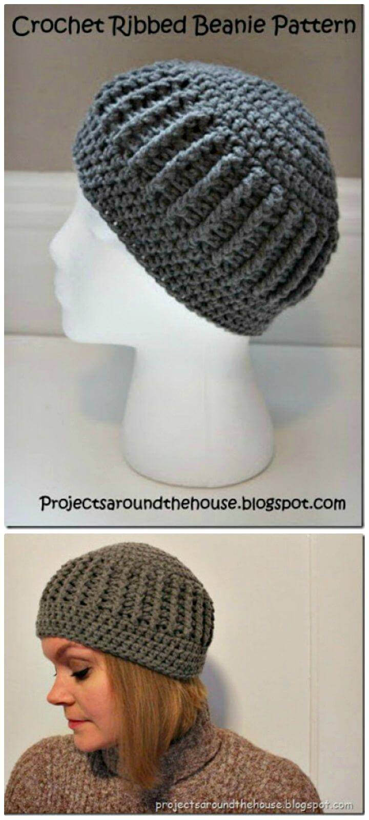 Free Crochet Ribbed Beanie Hat Pattern