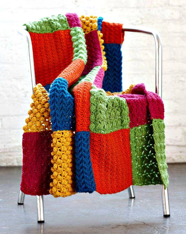 Free Crochet Sampler Throw Blanket Pattern