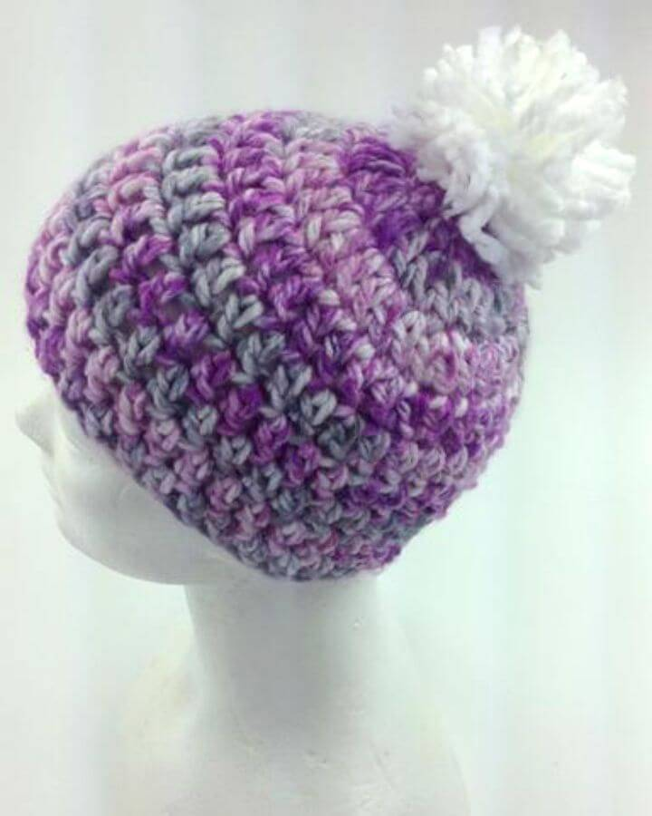 Free Crochet Serenity Hat With Pompom Pattern