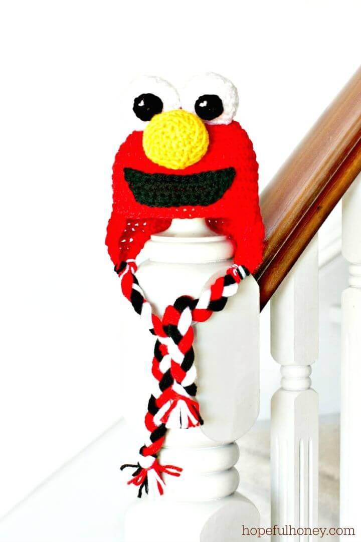 Easy Free Crochet Sesame Street Elmo Inspired Baby Hat Pattern