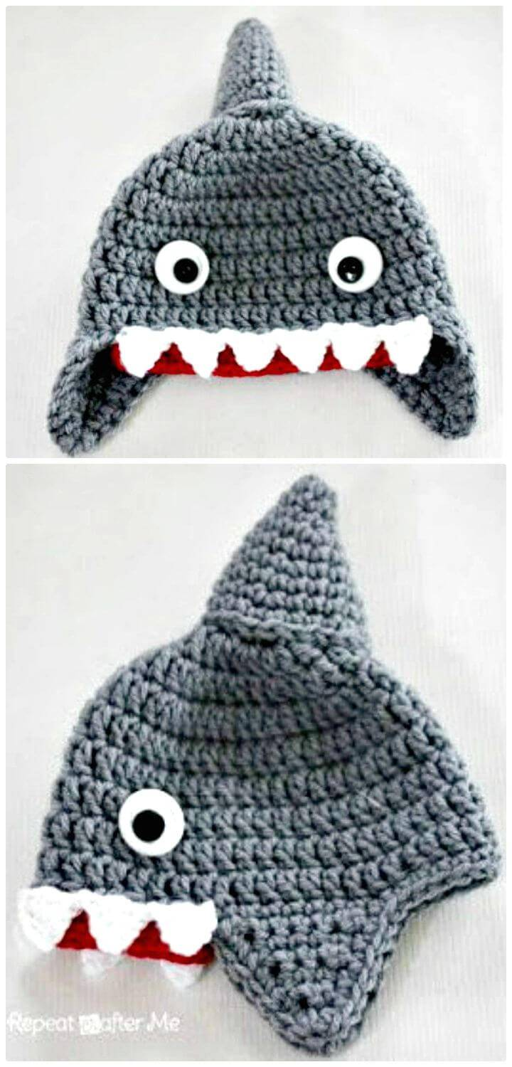 How To Free Crochet Shark Hat Pattern