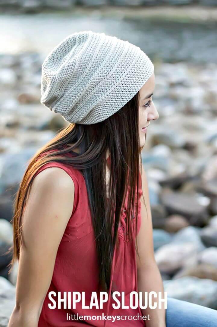 Free Crochet Shiplap Slouch Hat Pattern