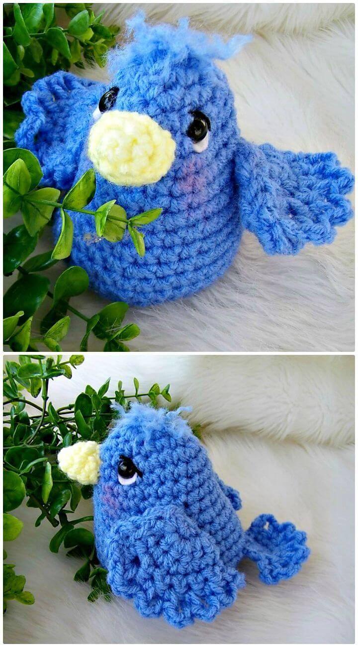 Easy Free Crochet Simply Cute Blue Bird Pattern