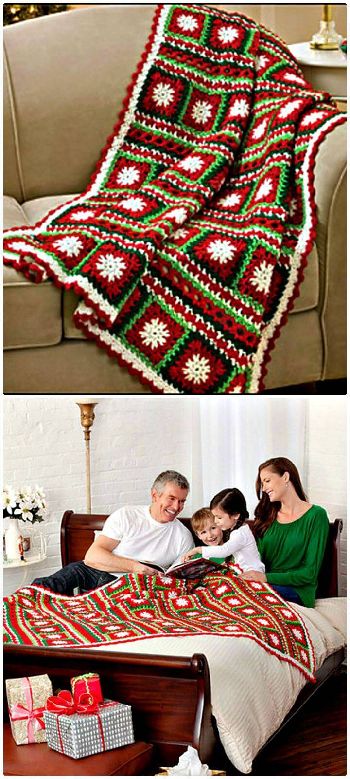 How To Free Crochet Snowflakes & Ribbons Throw Blanket Pattern