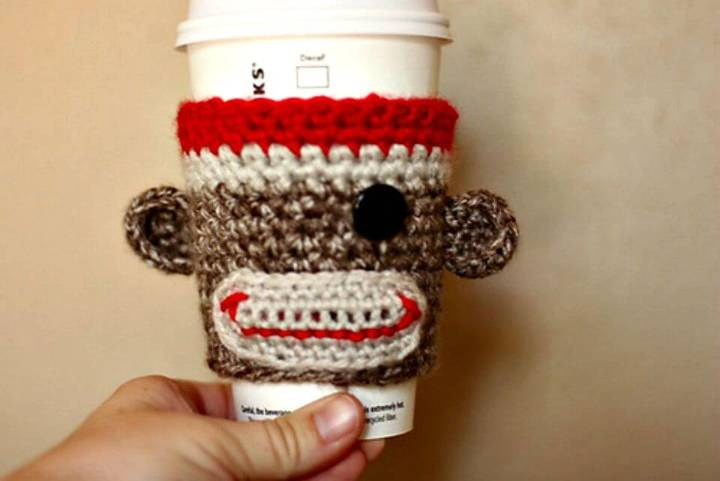 How To Free Crochet Sock Monkey Coffee Cozy Pattern