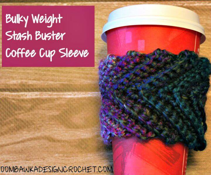 How To Free Crochet Stash Buster Coffee Cup Sleeve Pattern
