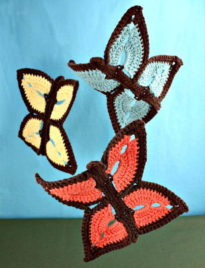 Easy Free Crochet Summer Butterfly Dishcloth - Home Decor Pattern